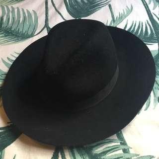 Black 100% Wool Fedora