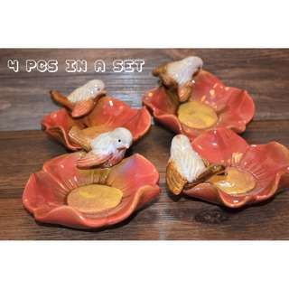 PRICE REDUCED!!!  Porcelain Birds On Flower Pteals Mini Platter (Set of 4 pcs $9)  - GRAB LAST 3 SET FREE MAILING