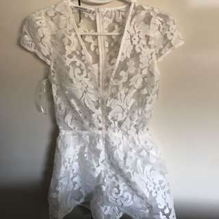White Playsuit Lace Size 8