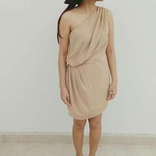 Nude One Shoulder Dress