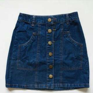 Button Denim Skirt