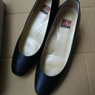 Aso 阿瘦 基本款 黑皮鞋 女鞋 低跟 中跟