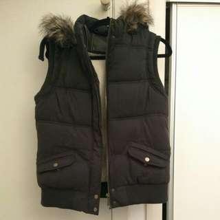 Warm Puffy Vest With Faux Fur Hood 14 L Blue Grey Navy