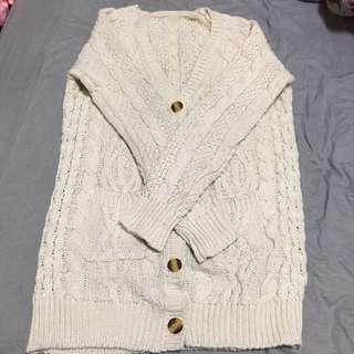 超保暖長版針織外套