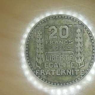 Republique Francaise 20 Francs 1933