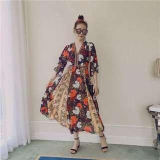 印花圖騰小熙網美款渡假洋裝