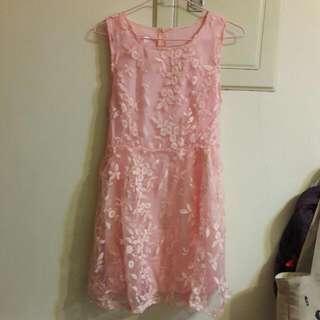 PS Mall 韓版歐根紗刺繡網紗拼接蓬蓬裙連身無袖洋裝