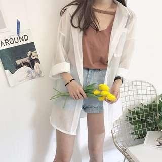 🚚 寬鬆純色前後兩穿鏤空領口百搭無袖上衣*2色預購【CATJIN.SHOP⭐TB06-05】