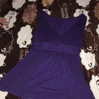 深紫色深v上衣