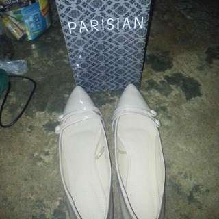 repriced: Parisian nude flat shoes size 8