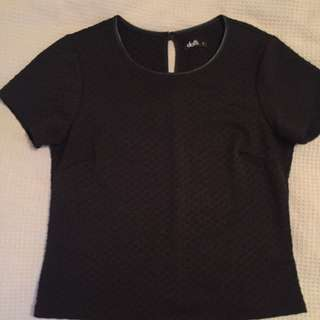 Black T Shirt With Leather Trimming