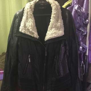 Black Leather Jacket With Faux Fur Colar