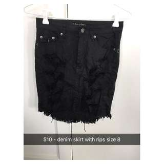 Black Denim Skirt With Rips
