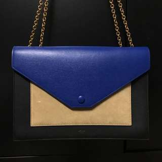 Celine Pocket Flagbag with Chain OP:18,000 Shoulder Bag Handbag 手袋 拼色 Blue Black beige