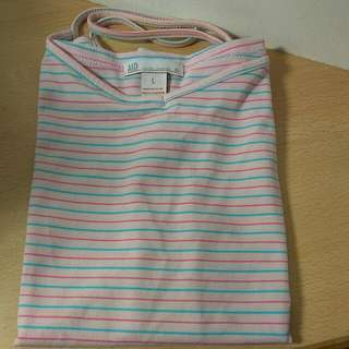 🚚 [Ericaca 愛挖寶] A&D 粉紅色藍粉橫條紋細肩帶❤