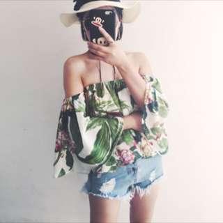 【PO】Tropical Summer Off Shoulder Top