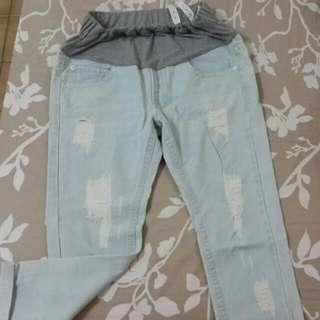 孕媽咪系列夏天天藍色刷破牛仔褲(L)#六月免購物直接送
