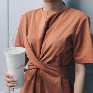 桔色綁帶顯瘦洋裝 長版 Chic 韓