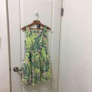 日本專櫃正品 Mercuryduo 絕版綠花蕾絲雪紡洋裝 小露背 蝴蝶結 品牌 澎裙