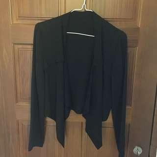 正韓 黑色 夏天可穿的外套