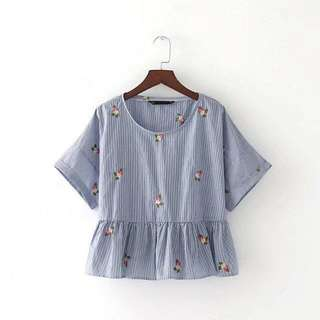 Zara Inspired Babydoll Embroidered Top