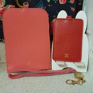✧女孩最愛✧ 日 Sazaby 紅色證件套+玫瑰紅手機袋兩件組 玫瑰色 粉紅色 非LV PRADA GUCCI CHANEL