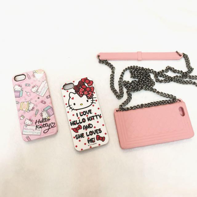 🔺3個$100🔺iPhone 5s手機殼保護套硬殼軟殼菱格紋背帶肩背kitty粉吊飾孔甜美日系可愛