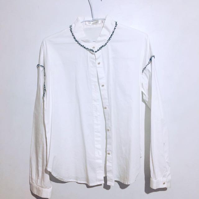 8happy 白色麻花繩襯衫