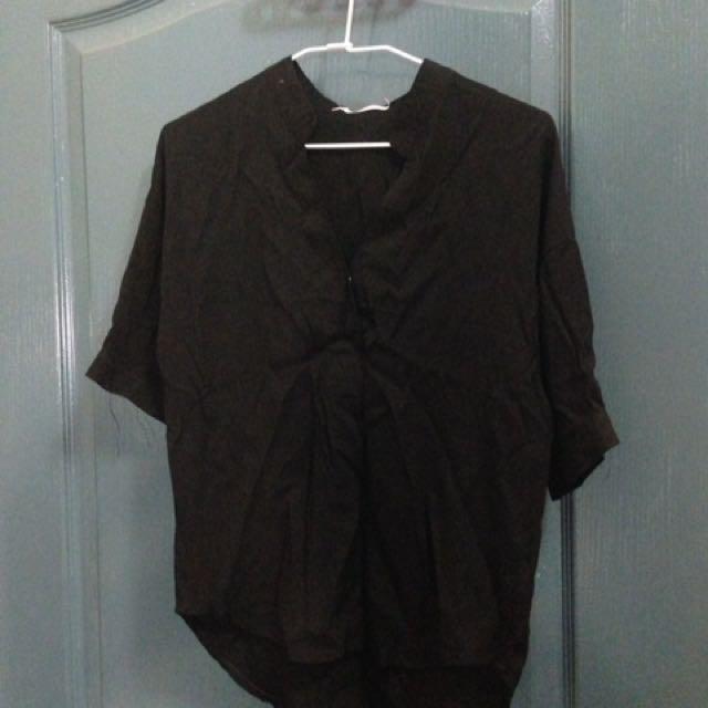 全新)開襟黑襯衫