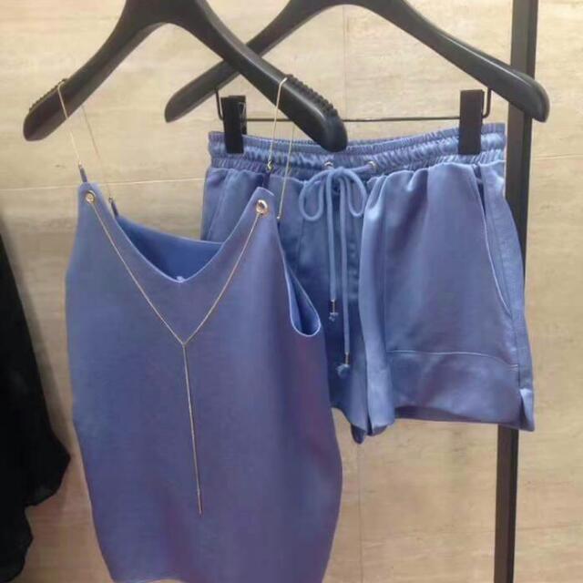 大降價-韓緞面兩件式短褲套裝