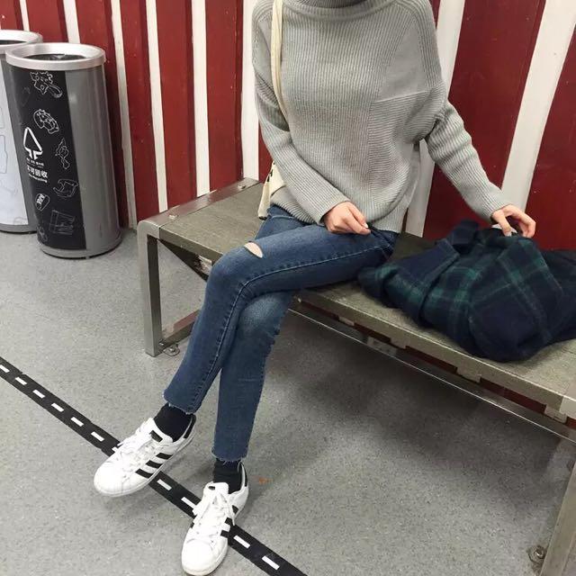 韓版小割破緊身彈力牛仔褲