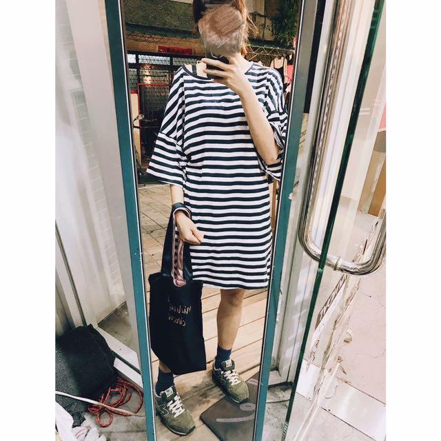 長版寬袖橫條紋洋裝