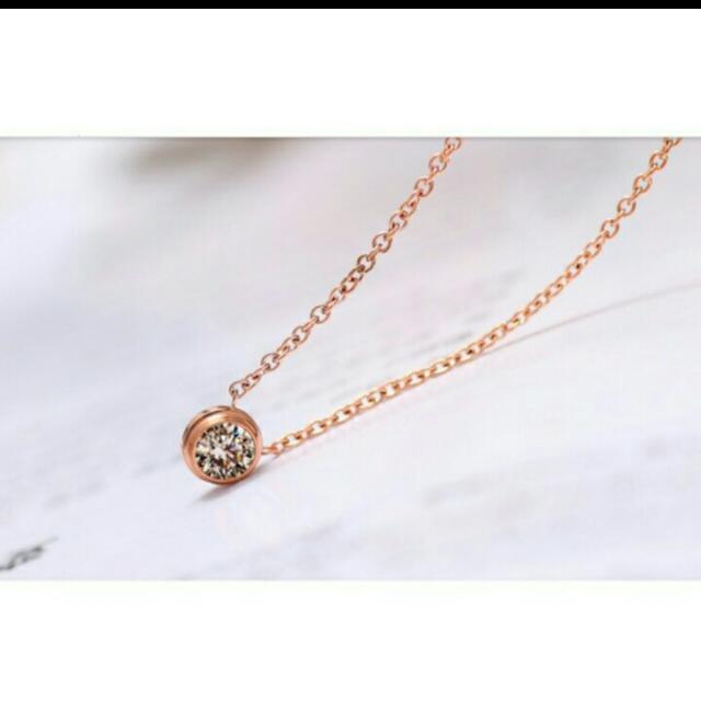 日韓時尚單鑽玫瑰金頸鍊