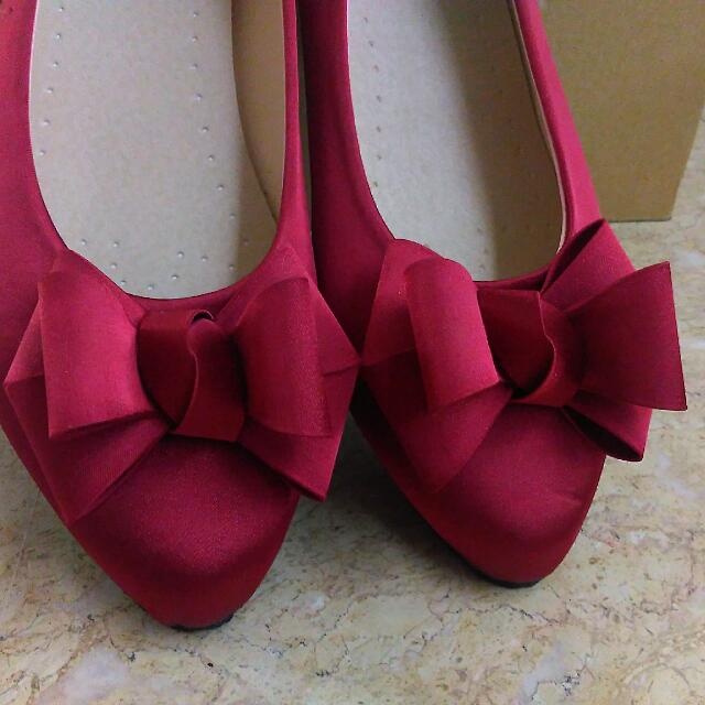 立體緞帶絕美紅色平底鞋