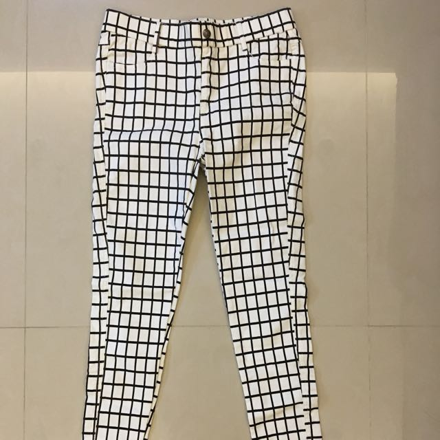 降❗️白底黑格紋緊身長褲