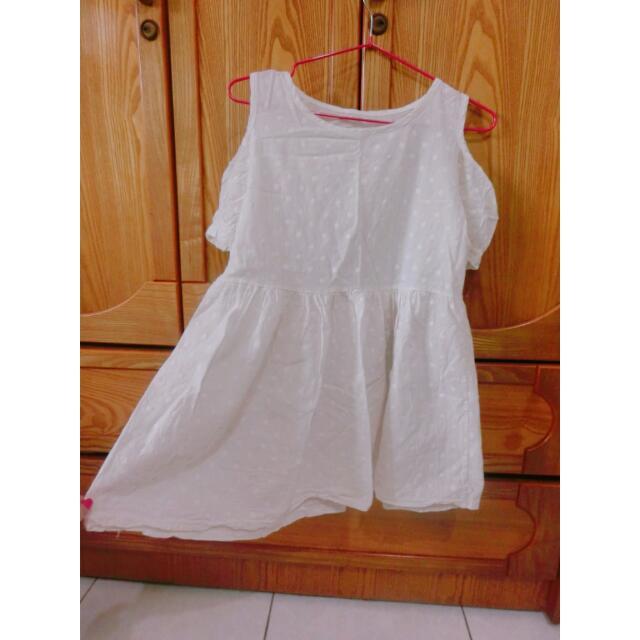 白色 露肩 小洋裝 外出 約會服 連身裙