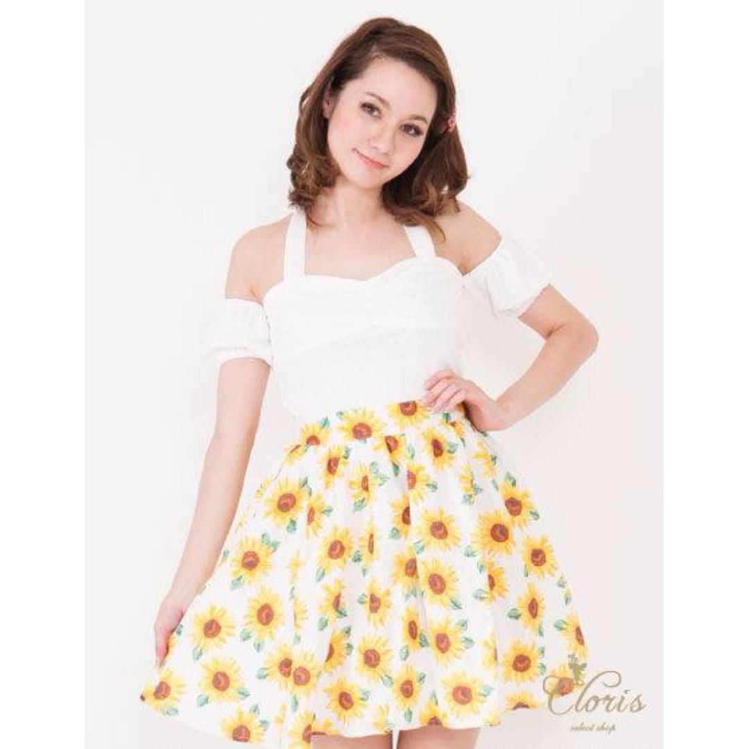 保證日系正牌 titty&co 向日葵太陽花夏日風短裙