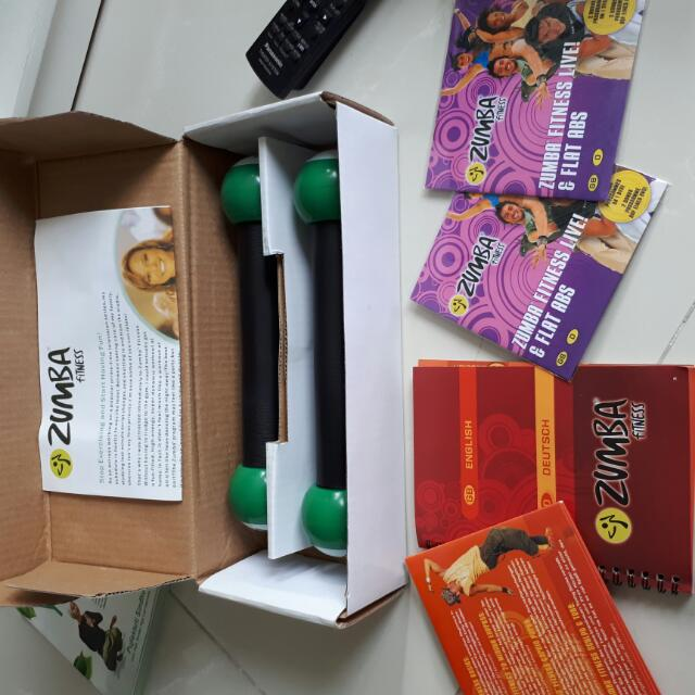 A zumba package with cassettes and guidebooks