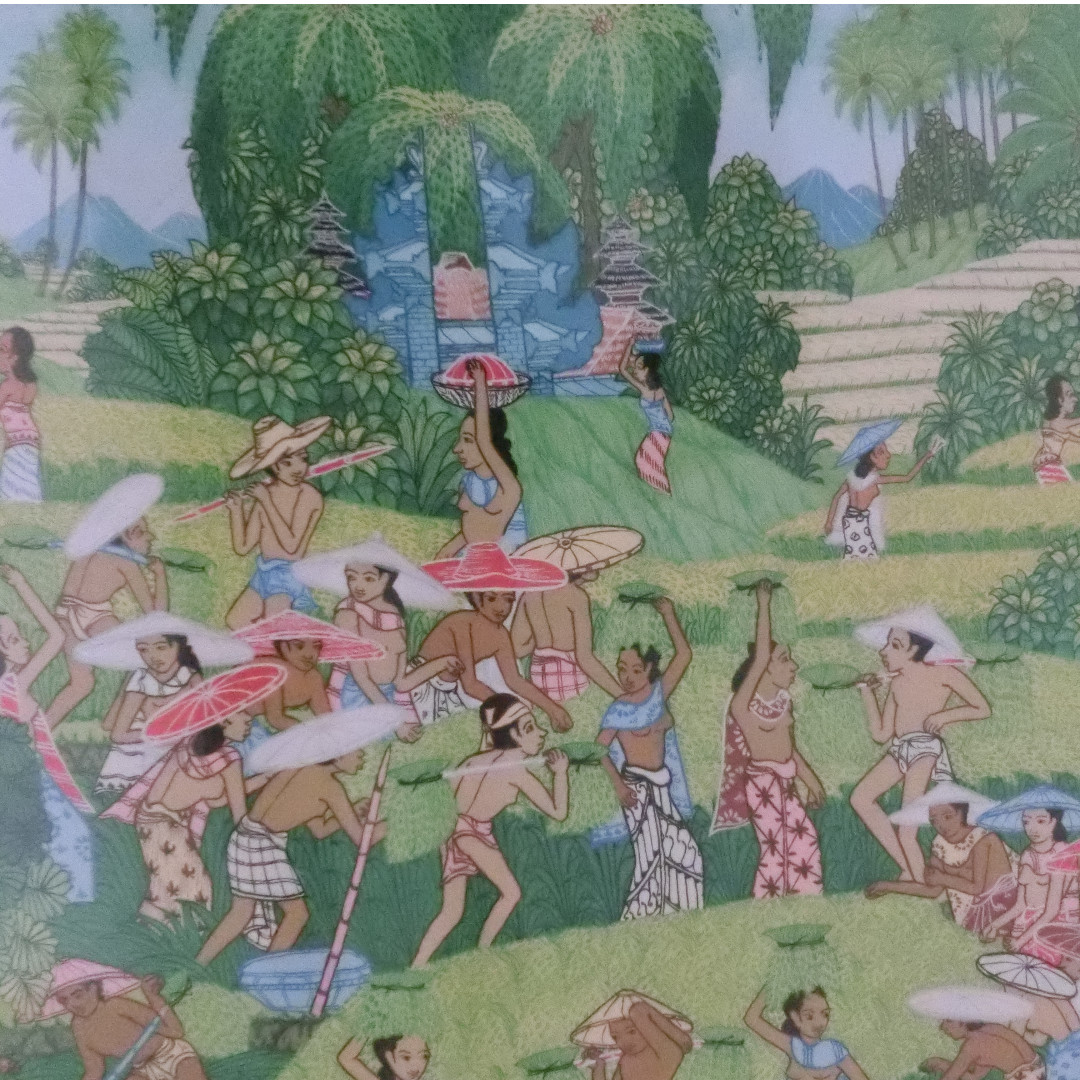 Wall Balinese oil painting rice harvest celebration