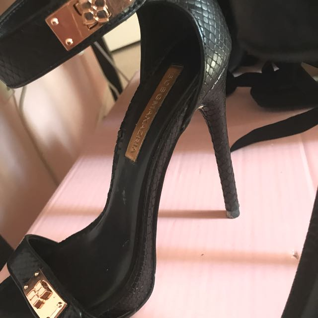 BCBG Black Buckle Heels