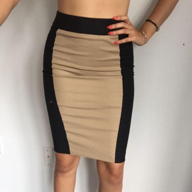 Black & Cream Accent Pencil Skirt