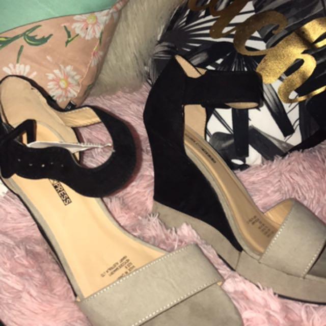Black And Grey Wedge Heels
