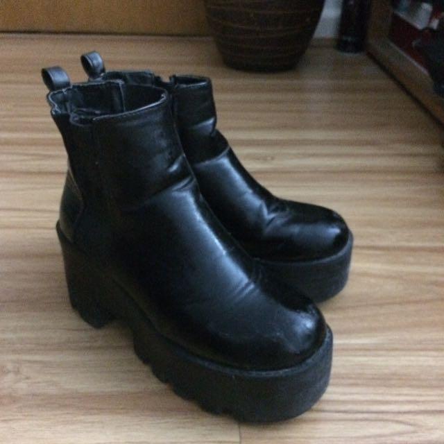 Boohoo Black Boots High