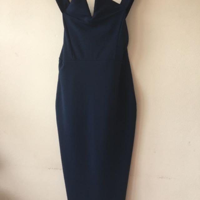 Boohoo Navy Midi Dress