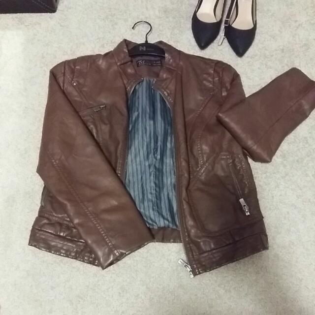 Brown Leather Jacket (ZARA Ttf M)