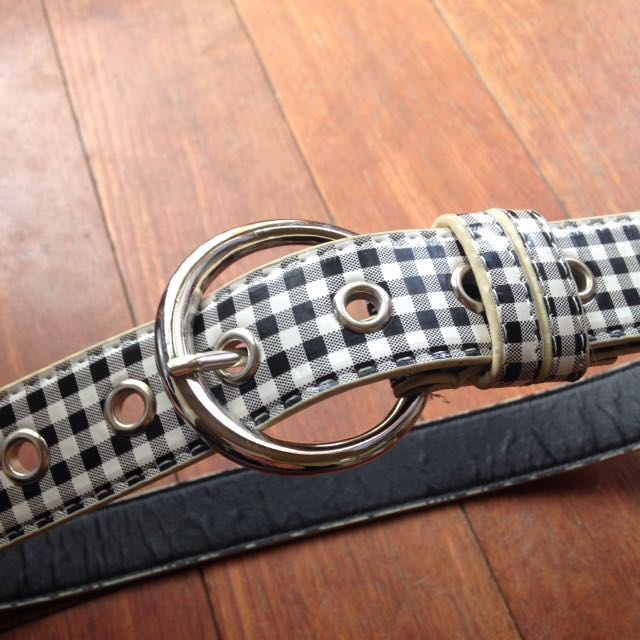Checkered leather belt