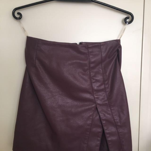 Dark Purple Leatherette Skirt