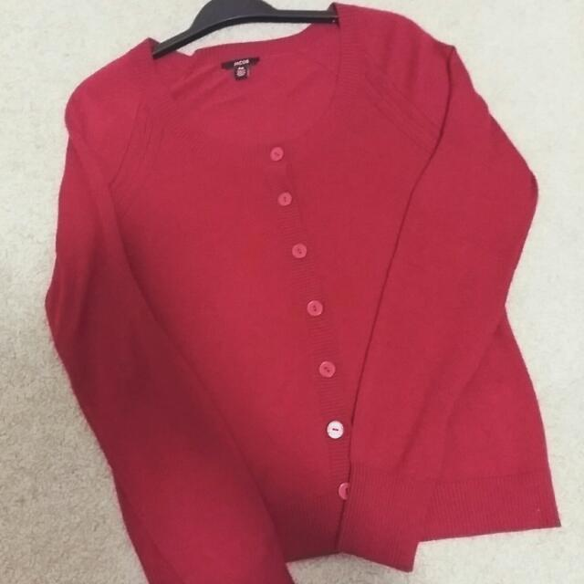 Deep Red Cardigan (S-M Fit)