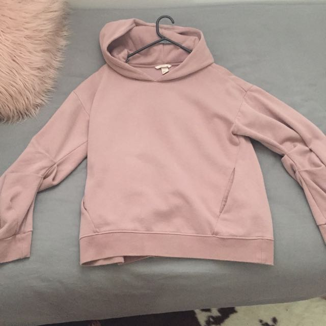 Dusty Pink H&M Hoodie With Gathered Baggy Sleeves