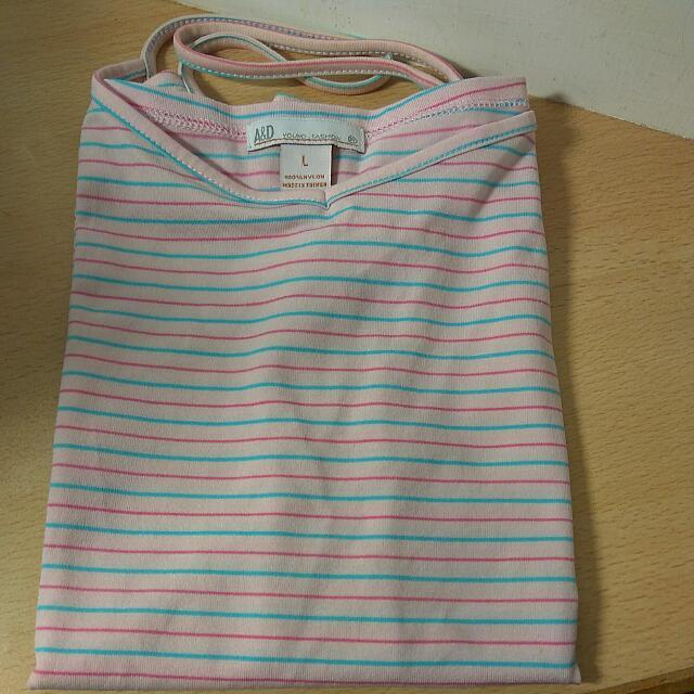 [Ericaca 愛挖寶] A&D 粉紅色藍粉橫條紋細肩帶❤